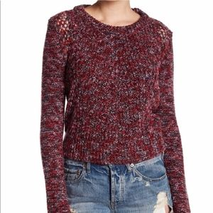 Free People red pink marled thumbhole sweater